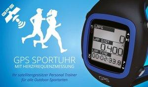 GPS Sportuhr mit Herzfrequenzmessung inklusive Brustgurt (blau)