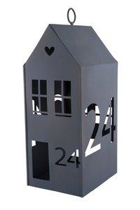 """Windlicht Häuschen """"24"""", 30x15cm, grau"""