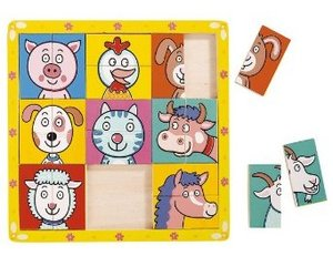 Bino 88093 - Holz-Puzzle Tierköpfe