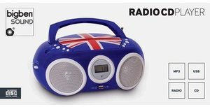 CD-Radio/MP3-Player, CD32, tragbar, Union Jack - blau