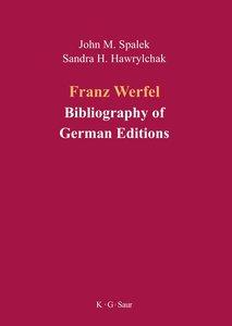 Franz Werfel: Bibliography of German Editions