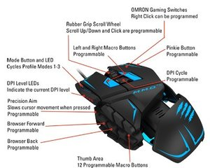 M.M.O. TEÖ Gaming-Maus für PC und Mac, weiss
