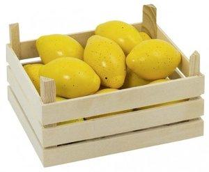Goki 51666 - 10 Zitronen in Holzkiste Stiege für Kaufladen, Holz