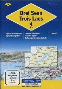 KuF Schweiz Digitale Wanderkarte 09 Drei Seen 1 : 50 000