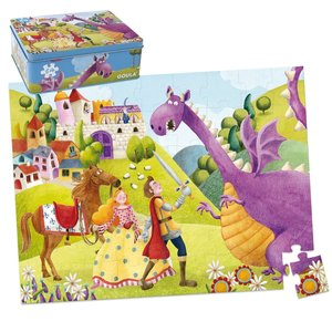 "Goula Kartonpuzzle ""Prinz & Drache"" in Metallbox - 54 Teile"
