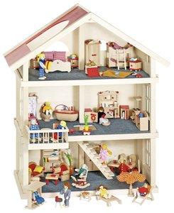 Goki 51957 - Puppenhaus, 3 Etagen, Bausatz aus Holz