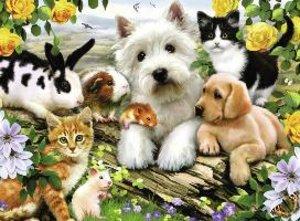 Fröhliche Tierfreundschaft. Puzzle 300 Teile
