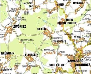 Greifensteingebiet Ehrenfriedersdorf, Geyer, Thum, Zwönitz, Elte