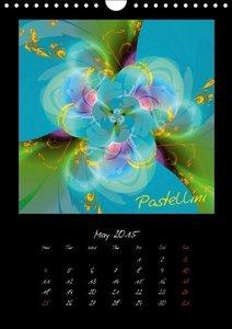 Digital Flowers/UK Version (Wall Calendar 2015 DIN A4 Portrait)
