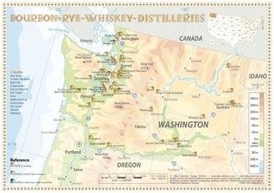 Bourbon-Rye-Whiskey Distilleries in Washington - Tasting Map 34x