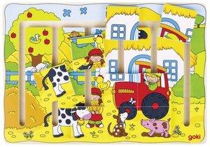 Goki 57596 - Schiebepuzzle, Unser Bauernhof Holz