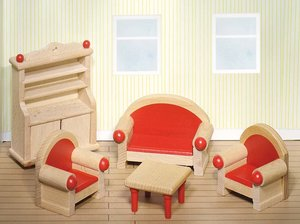 Goki 51952 - Puppenmöbel Wohnzimmer für Puppenhaus, 5 Teile