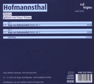 Franz Winter liest Hofmannsthal Elektra/2 CDs
