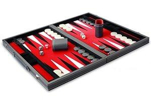 Philos 1720 - Backgammon rot, groß, Kunstleder