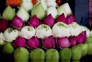 Premium Textil-Leinwand 120 cm x 80 cm quer Thailand, Lotusblüte