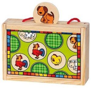 Bino 84041 - Holz-Memory Tiere, Köfferchen, 24-teilig