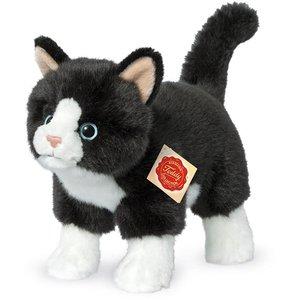 Teddy Hermann 91820 - Katze stehend, schwarz/weiß, 20 cm