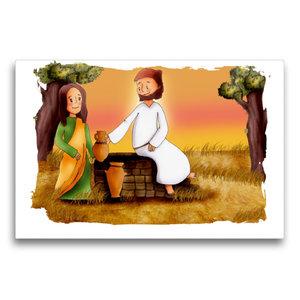 Premium Textil-Leinwand 75 cm x 50 cm quer Jesus bittet Samarite