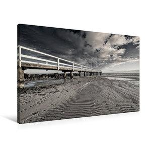 Premium Textil-Leinwand 90 cm x 60 cm quer Ebbe am Strand