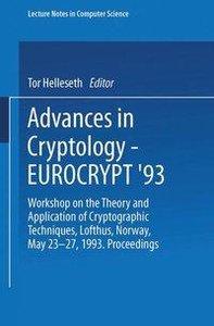 Advances in Cryptology - EUROCRYPT '93