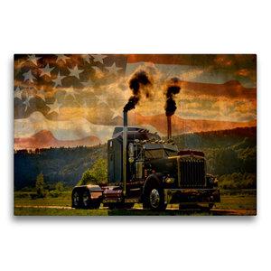 Premium Textil-Leinwand 75 cm x 50 cm quer Kenworth W900A Baujah