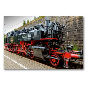 Premium Textil-Leinwand 90 cm x 60 cm quer Dampflokomotive Baure