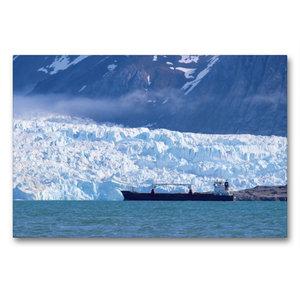 Premium Textil-Leinwand 90 cm x 60 cm quer Ein Frachter auf Reed