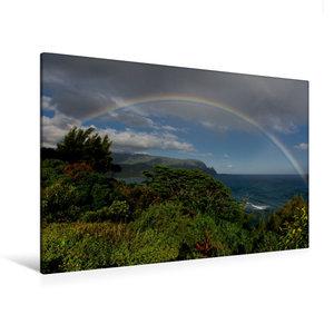 Premium Textil-Leinwand 120 cm x 80 cm quer Regenbogen über der