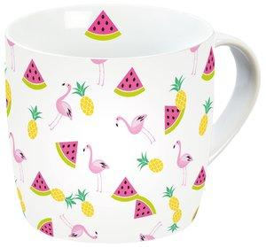Flamingo Porzellantasse Früchte