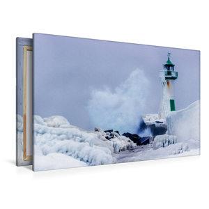 Premium Textil-Leinwand 120 cm x 80 cm quer Leuchturm Sassnitz i