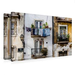 Premium Textil-Leinwand 75 cm x 50 cm quer Häuserfassade