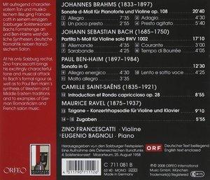 Sonate op.108,Partita BWV 1002,Sonata In G,Tzigan