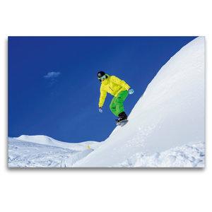 Premium Textil-Leinwand 120 cm x 80 cm quer Snowboarder auf Arlb