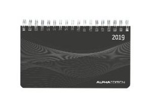 Mini-Querkalender PP schwarz 2019