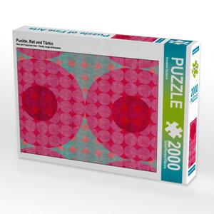 Punkte, Rot und Türkis 2000 Teile Puzzle hoch