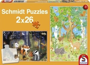 Waldtiere. Puzzle 2 x 26 Teile