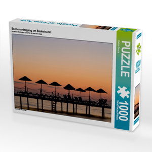 CALVENDO Puzzle Sonnenuntergang am Badestrand 1000 Teile Lege-Gr