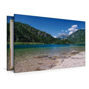 Premium Textil-Leinwand 120 cm x 80 cm quer Cavazzo-See