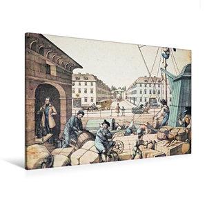Premium Textil-Leinwand 120 cm x 80 cm quer Packhof (Handel/Verk