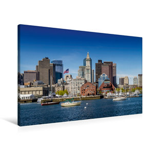 Premium Textil-Leinwand 90 cm x 60 cm quer BOSTON Skyline
