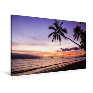 Premium Textil-Leinwand 90 cm x 60 cm quer Puamana Beach