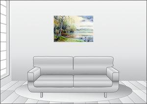 Premium Textil-Leinwand 90 cm x 60 cm quer Frühling am See