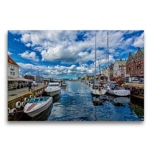 Premium Textil-Leinwand 75 cm x 50 cm quer Bergen