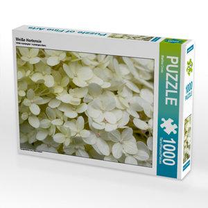 Weiße Hortensie 1000 Teile Puzzle quer