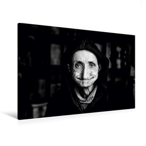 Premium Textil-Leinwand 120 cm x 80 cm quer Weiser Mann in der M