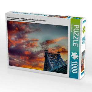 Sonnenuntergang Dresden an der Loschwitzer Brücke 1000 Teile Puz