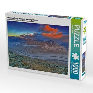 Sonnenaufgang über dem Aletschgletscher 1000 Teile Puzzle quer