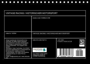 Vintage Racing, historischer Motorsport (Tischkalender 2019 DIN