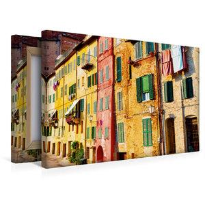 Premium Textil-Leinwand 45 cm x 30 cm quer Bunte Häuser