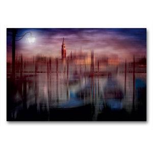 Premium Textil-Leinwand 90 cm x 60 cm quer City-Art VENEDIG Gond